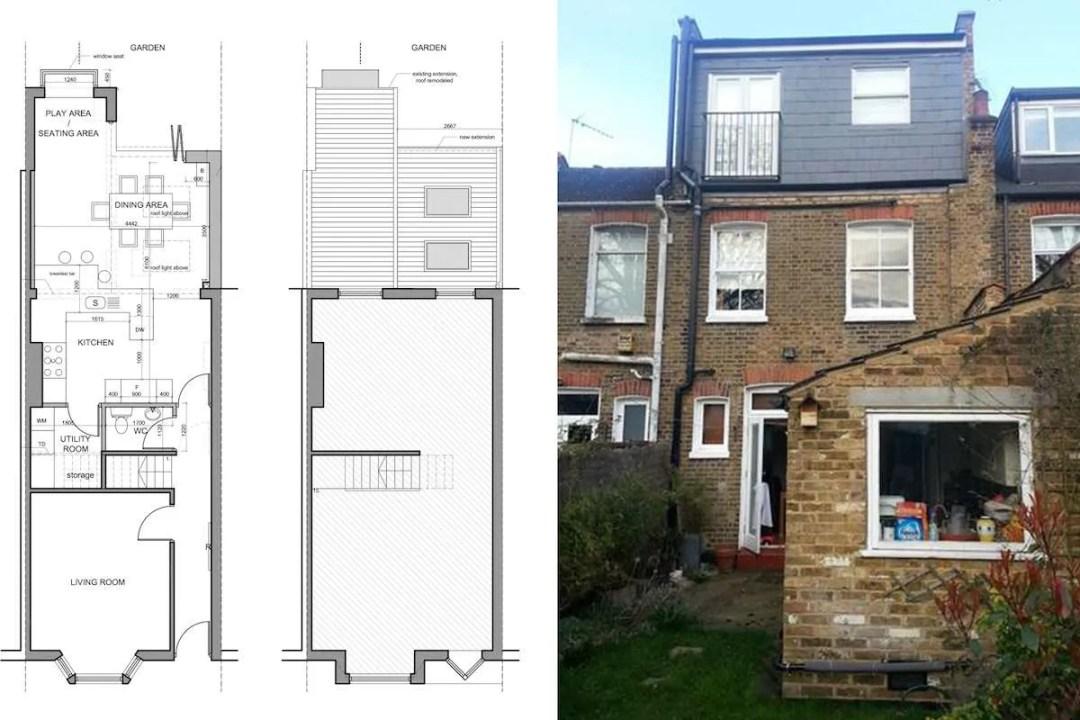 Barnes Richmond SW14 – Rear house kitchen extension – existing rear and plans 1200x800 Barnes, Richmond SW14 | Rear house kitchen extension