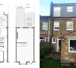Barnes Richmond SW14 – Rear house kitchen extension – existing rear and plans 300x266 Barnes, Richmond SW14 | Rear house kitchen extension