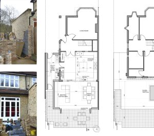 Architect designed house extension Grange Park Enfield N21 Floor Plans 300x266 Grange Park, Enfield N21 – House extension and alterations