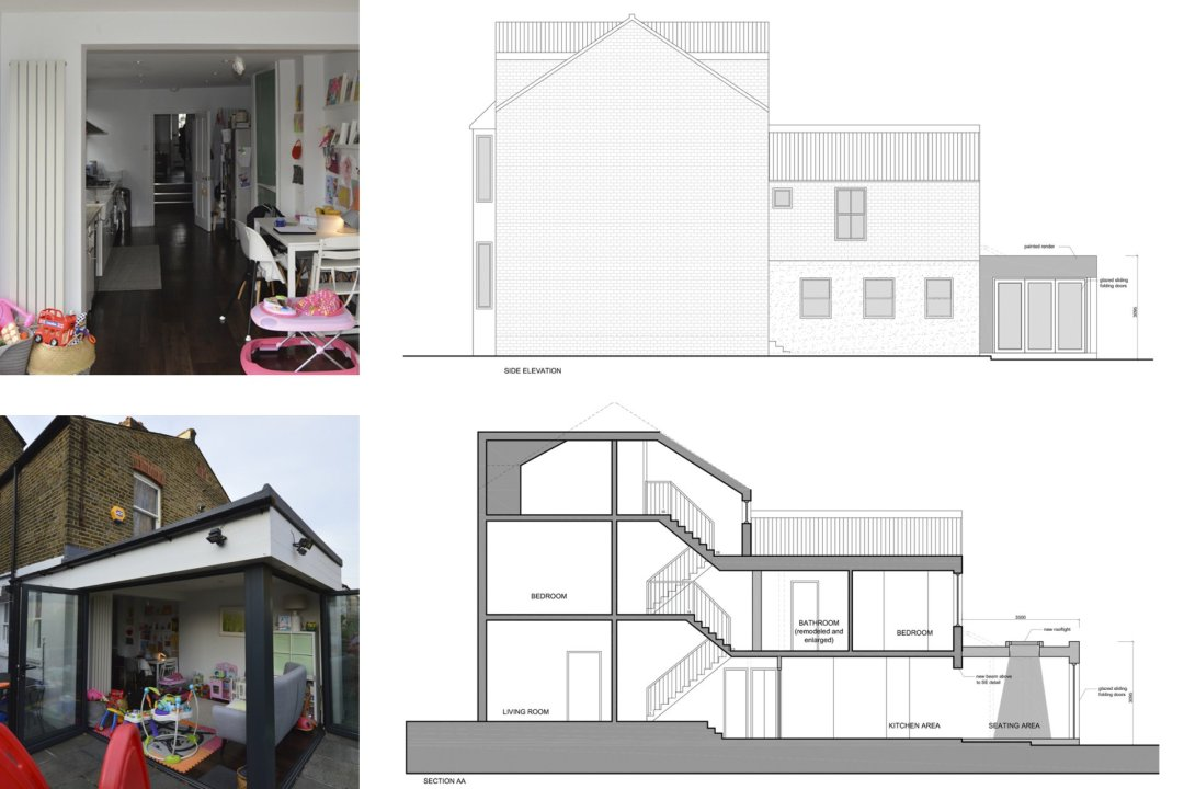 Architect designed rear house extension Penge east Bromley SE26 Elevation and section drawing 1200x800 Penge East, Bromley SE26 | Rear house extension