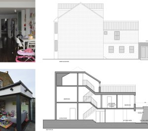 Architect designed rear house extension Penge east Bromley SE26 Elevation and section drawing 300x266 Penge East, Bromley SE26 | Rear house extension