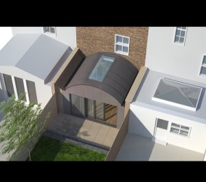 Angel Islington N1 Listed House rear extension – 3D Birds eye view 300x266 Angel, Islington N1 | Listed house rear extension