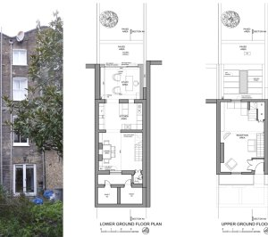 Angel Islington N1 Listed House rear extension – Floor plans and existing photo 300x266 Angel, Islington N1 | Listed house rear extension
