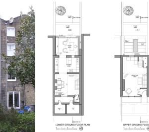 Angel Islington N1 Listed House rear extension – Floor plans and existing photo 300x266 Angel, Islington N1 | Listed house rear extension