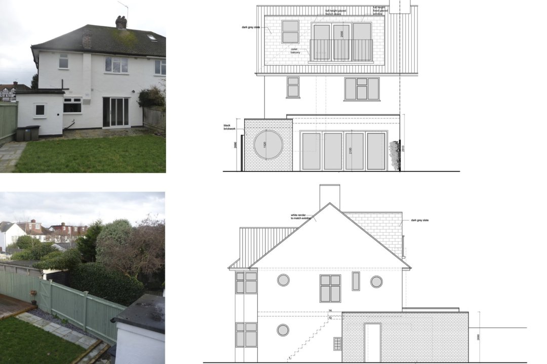 Architect designed roof and kitchen house extension Kingston KT2 Elevations 1 1200x800 Kingston KT2 | Roof and kitchen house extension