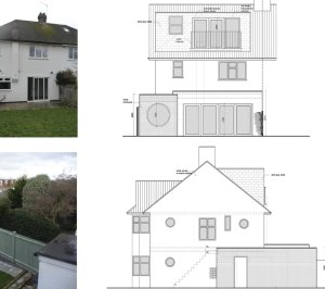 Architect designed roof and kitchen house extension Kingston KT2 Elevations 1 300x266 Kingston KT2 | Roof and kitchen house extension