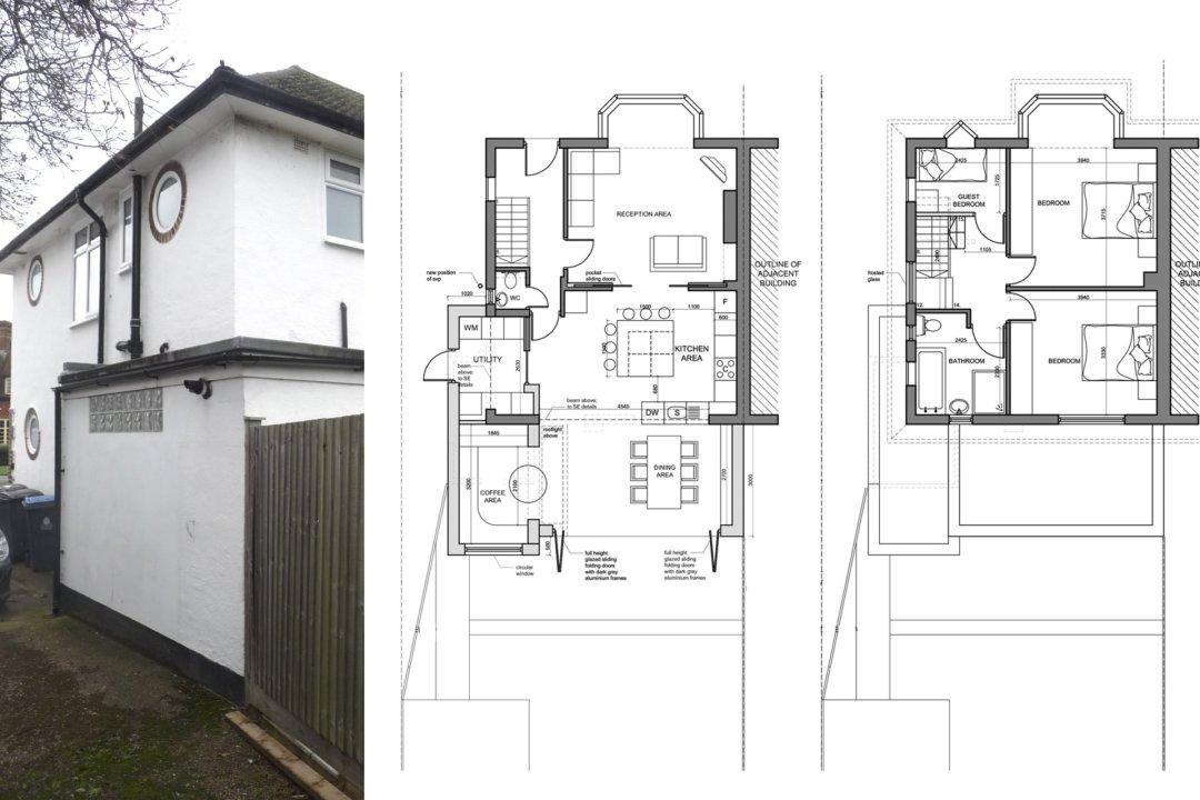 Architect designed roof and kitchen house extension Kingston KT2 Lower floor plans 1 1200x800 Kingston KT2 | Roof and kitchen house extension