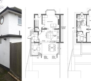 Architect designed roof and kitchen house extension Kingston KT2 Lower floor plans 1 300x266 Kingston KT2 | Roof and kitchen house extension