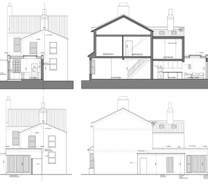 Enfield Chase EN2 Rear house extension refurbishment Sections and elevations 300x266 Enfield Chase EN2 | Rear house extension and refurbishment