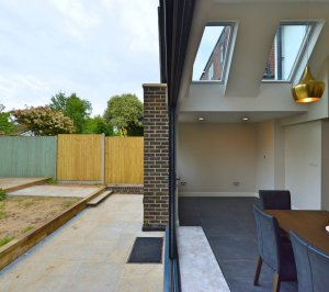 Architect designed roof and kitchen house extension Kingston KT2 Inside out 300x266 Kingston KT2 | Roof and kitchen house extension