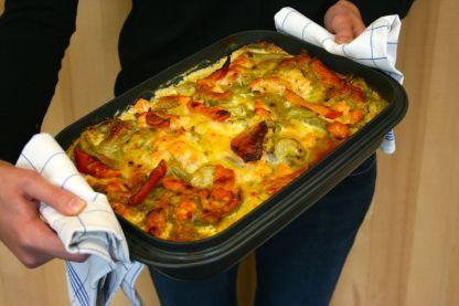Lasagne mit Räucherlachs, Kürbis & Schmorgurke1
