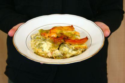 Lasagne mit Räucherlachs, Kürbis & Schmorgurke3