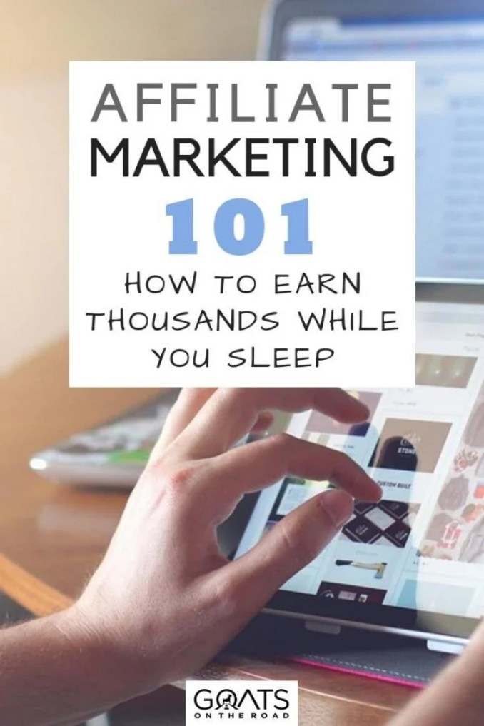 Entrepreneur at work with text overlay Affiliate Marketing 101 How To Earn Thousands While You Sleep