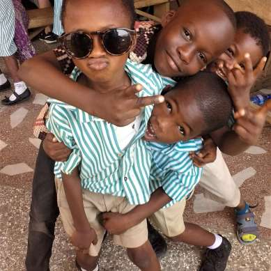 Young boys in Ghana posing for the camera