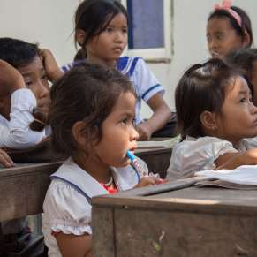 Students paying attention in class in Cambodia