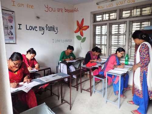 Women taking an exam in Nepal