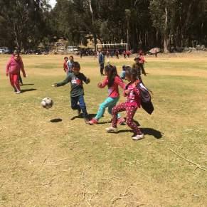 Kids playing soccer in Peru