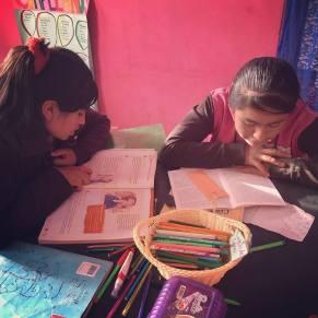 Students in Peru working on their homework