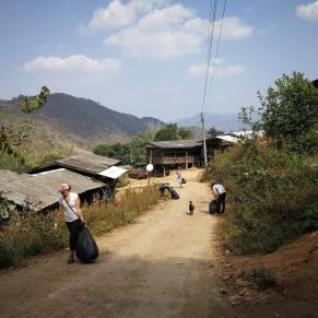 Volunteers working in a hill village in Thailand