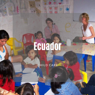 Children and volunteers in a small classroom
