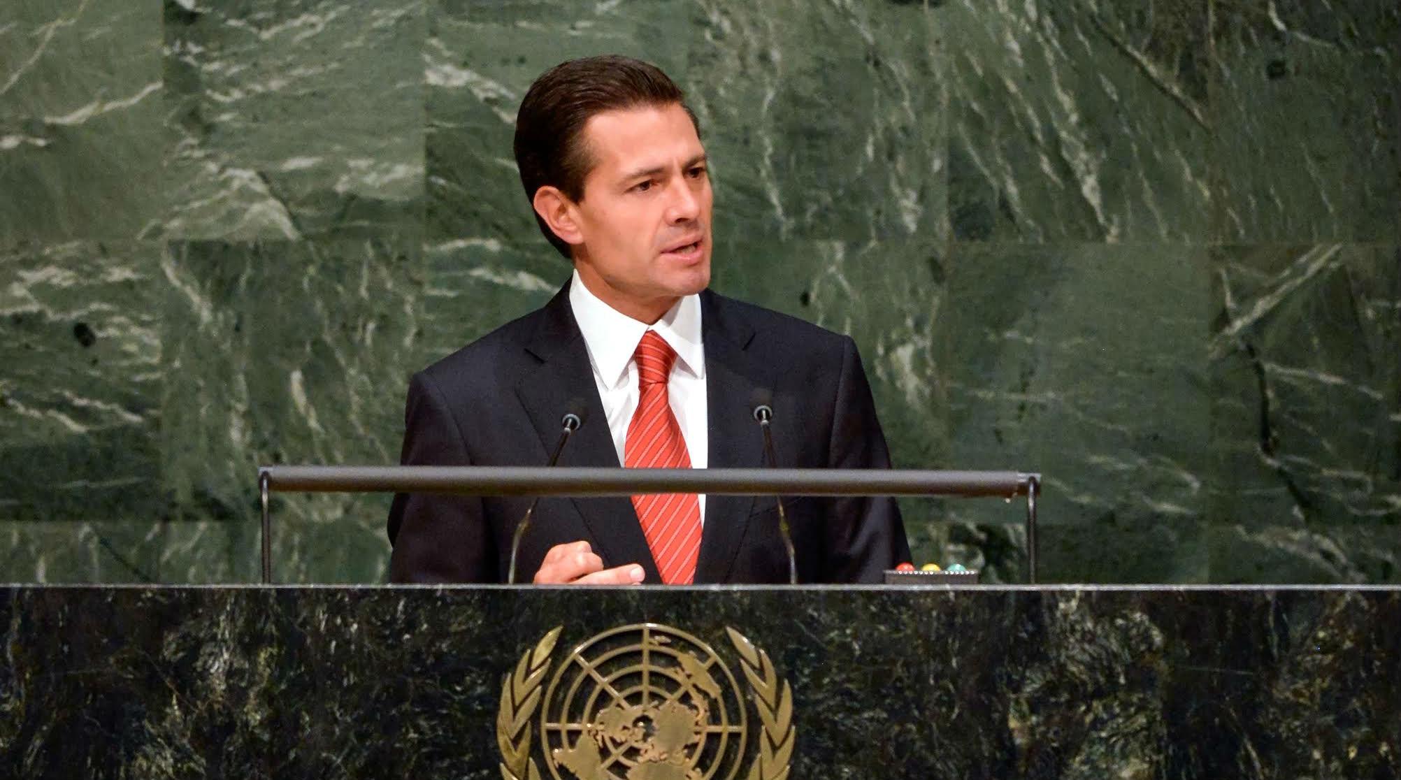 El Presidente Peña Nieto durante su discurso en la ONU.