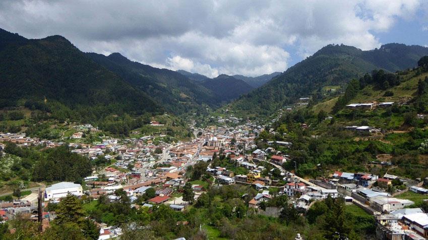 Vista panorámica de Angagueo, Michoacán