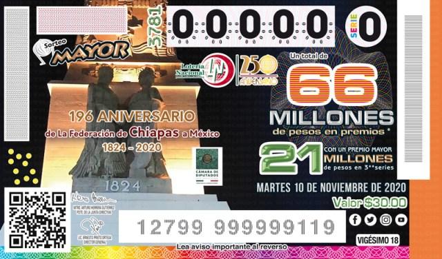 Imagen del billete del Sorteo Mayor No. 3781 a la celebración por el 196° Aniversario de la Federación de Chiapas a México