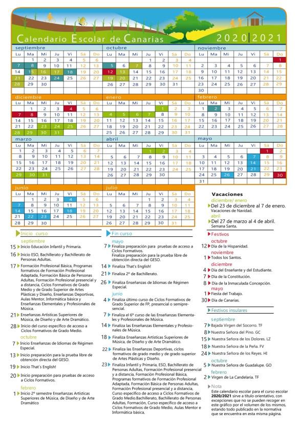 Calendario escolar 2020 - 2021