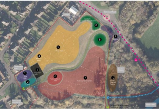 Plan of proposed 'Hub and Skills area' including pump track