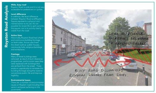 Royston Road analysis –annotated photo