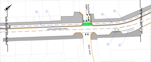 Section of Queen Margaret Drive map