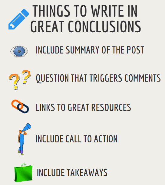 Things to write in great conclusions