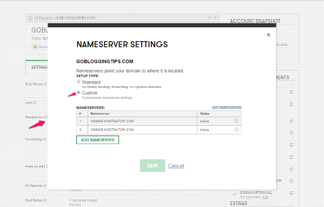 GoDaddy add nameservers