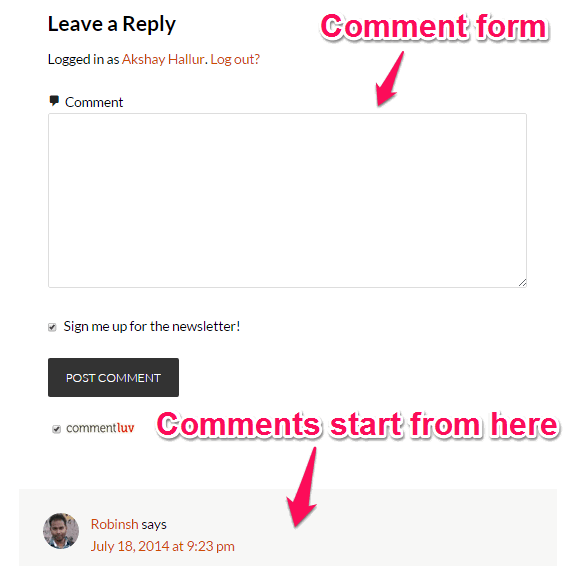 Comment form before comments