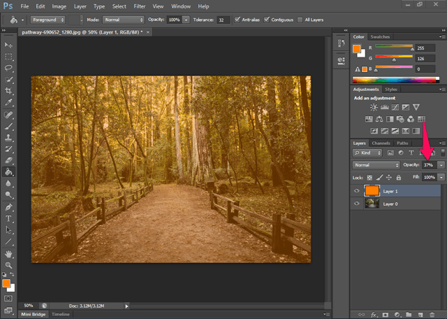 Photoshop color overlay
