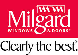 Logo for Milgard Windows and Doors. Their logo says: Clearly the best.