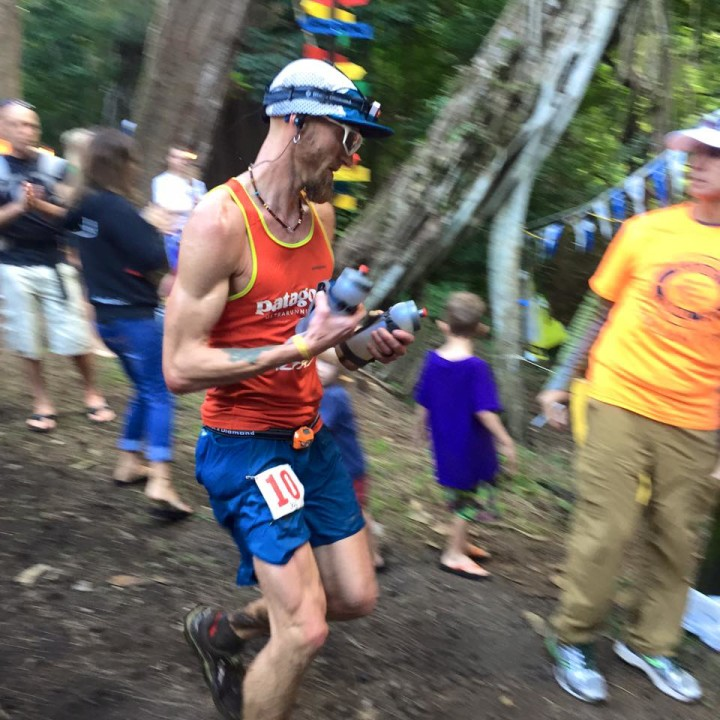 Leaving Nu'uanu, mile 53 with my lights. Photo by Jiro Ishiduka.