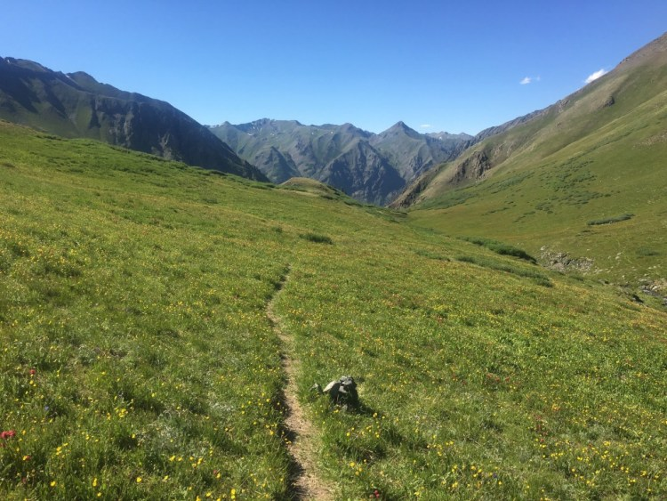 The upper drainage descending to Cunningham Gulch. Mile 90 of the 2016 clockwise running of Hardrock 100.