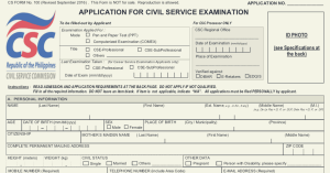 Civil Service Application Form PDF Copy