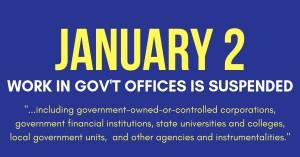 January 2 Work Suspension