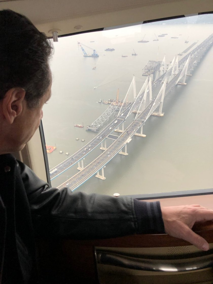 NY Governor Andrew Cuomo surveying the new Tappan Zee Bridge from the air