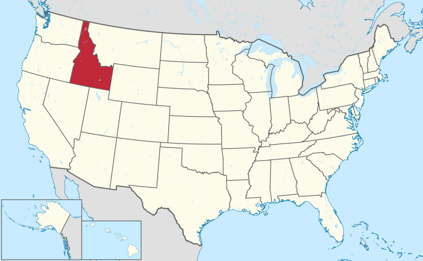 Map of the United States showing location of Idaho