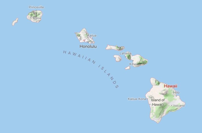 Map of Hawaiian Islanda