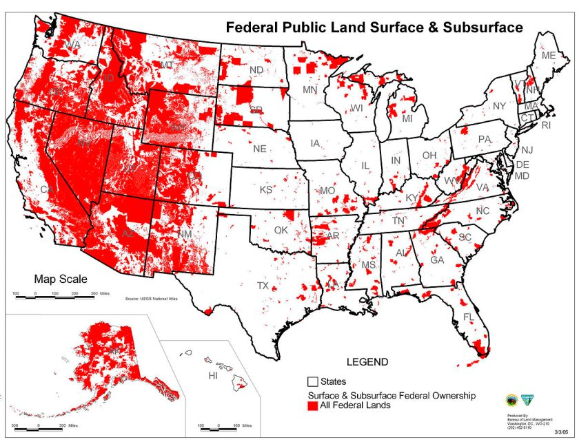 Map of USA showing federal lands