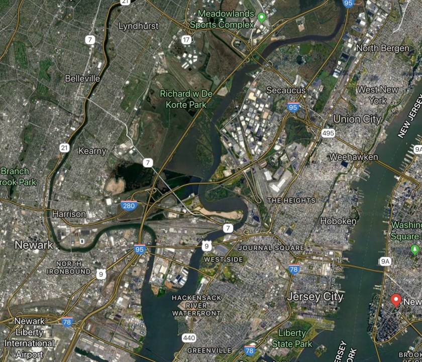 Satellite view of New Jersey metro region