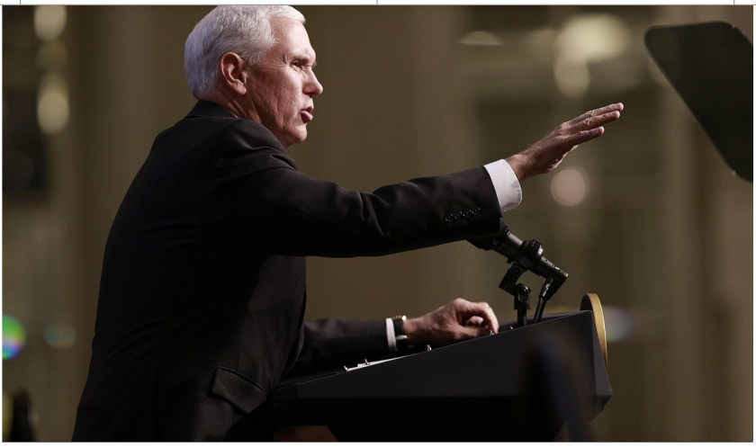 Photo of VP Mike Pence speaking to Ohio Oil & Gas Assoc. March 8, 2019