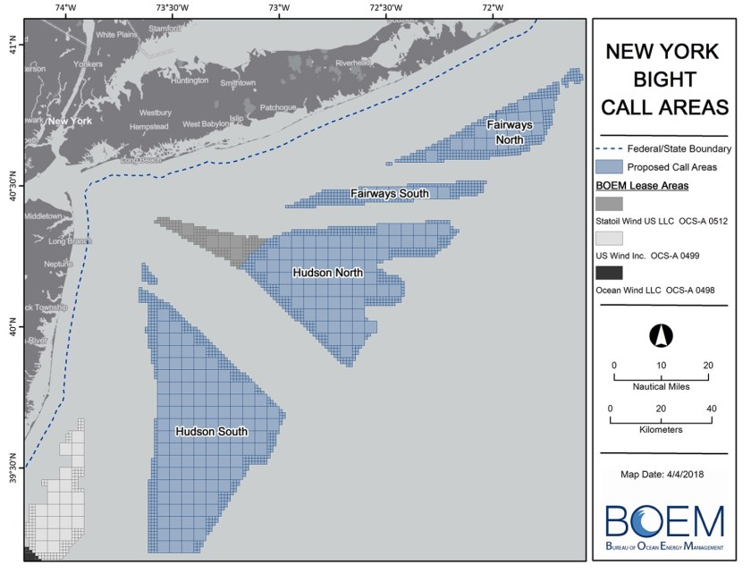 Map showing offshore wind lease areas off New York