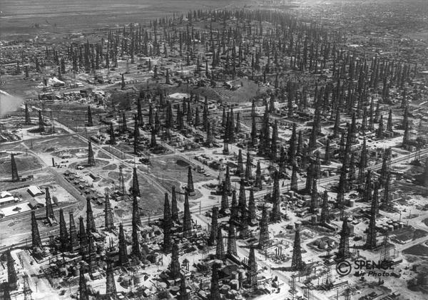 Photo of oil derricks, Long Beach CA in 1937