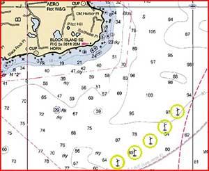Map showing location of Deepwater Wind farm SE of Block Island RI
