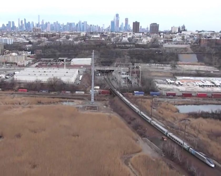 Aerial photo of trail leaving west portal of Amtrak's Hudson River ail Tunnel at North Bergen, NJ